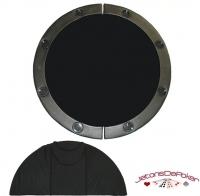 Dessus de table cuir rond noir