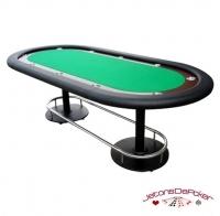 Table de Poker Deluxe Vegas Vert et Noir Pieds Métal