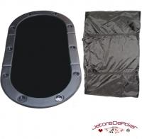 Dessus de table cuir ovale noir