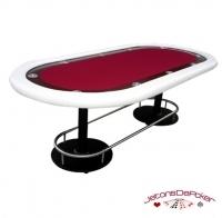 Table de Poker Deluxe Vegas Rouge Pieds Métal